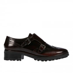 LEATHER LIGHT BORDEAUX LACE UP SHOE WITH BUCKLES