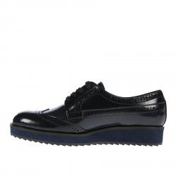 BLUE LEATHER LACE UP SHOE