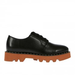 BLACK ECO LEATHER WITH CONTRASTING SOLE