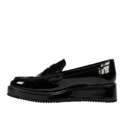 BLACK PATENT LEATHER LOAFER WITH WEDGE