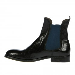 BLACK LEATHER DESERT BOOT WITH BLUE INSERTS