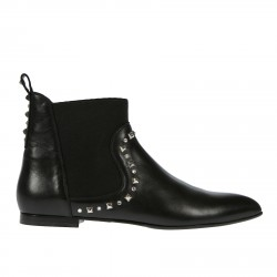 BLACK LEATHER DESERT BOOT WITH STUDS AND RHINESTONE