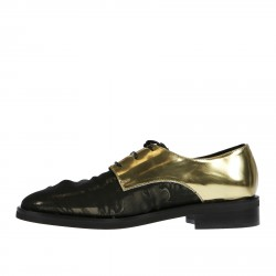 MIRROR GOLD LACE UP SHOE WITH BLACK CHIFFON