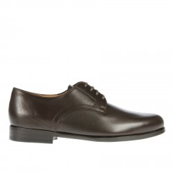 DARK BROWN LEATHER LACE UP SHOE
