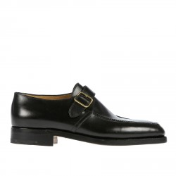 BLACK LACE UP SHOE WITH GOLDEN BUCKLE