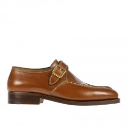 BROWN LACE UP SHOE WITH GOLDEN BUCKLE
