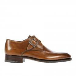 BROWN LEATHER LACE UP SHOE WITH BUCKLE