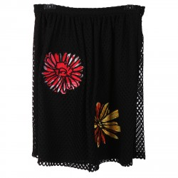 BLACK SKIRT WITH APLICATION FLOWERS