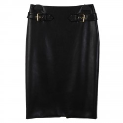 BLACK  ECO LEATHER SKIRT WITH GOLD BUCKLE