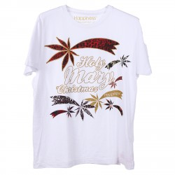WHITE T SHIRT WITH FRONT PRINTED