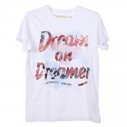 WHITE T SHIRT WITH FRONT DREAM PRINTED