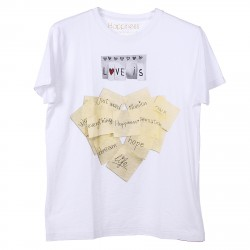 WHITE T SHIRT WITH POSTIT PRINTED