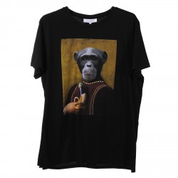 BLACK T SHIRT WITH FRONT MONKEY PRINTED