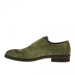 GREEN DOUBLE BUCKLES LACE UP SHOE