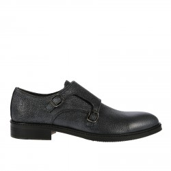 DARK GREY LACE UP SHOE WITH DOUBLE BUCKLES