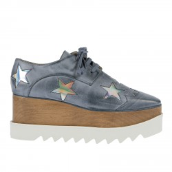 LIGHT BULE LEATHER LACE UP SHOE WITH SILVER STARS