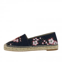 BLUE DENIM ESPADRILLAS WITH FLOWERS EMBROIDERY