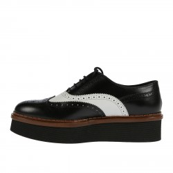 BLACK AND WHITE WINGTIP LACE UP SHOE