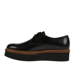 BLACK LACE UP SHOE WITH HIGH SOLES