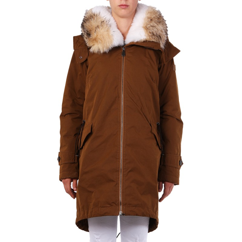 PEUTEREY Trovaprezzinuovo BROWN PADDED PARKA WITH FUR COLLAR ...