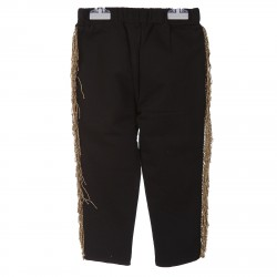 BLACK TRACKSUIT PANTS WITH GOLDEN FRINGED