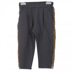 GREY TRACKSUIT PANTS WITH GOLDEN FRINGED