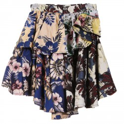MULTICOLR FLOWERS SKIRT WITH FRILL