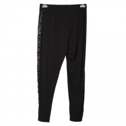 BLACK PANTS WITH SIDE SATIN BANDS