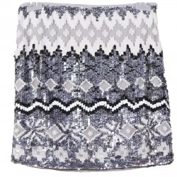GREY SKIRT WITH SEQUINS