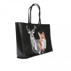 BLACK LEATHER BAG WITH PRINTING