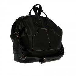 BLACK LEATHER WEEKEND BAG WITH SHOULDER STRAP