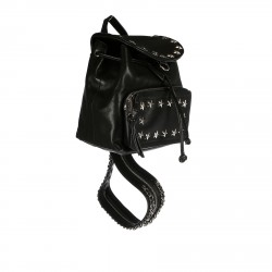 BLACK LEATHER BACKPACK WITH STARS STUDS