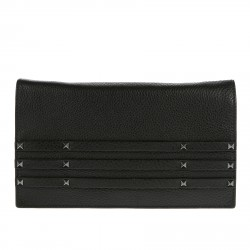 BLACK LEATHER POCHETTE WITH STUDS