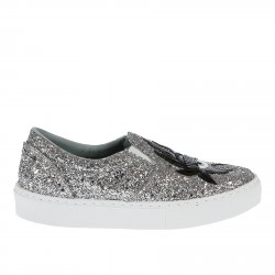 SILVER AND BLACK GLITTER SLIP ON