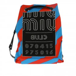 BLUE AND RED DIAGONAL STRIPED BACKPACK