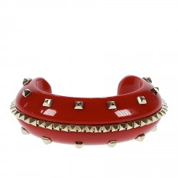 RED BRACIALET WITH GOLD STUDS