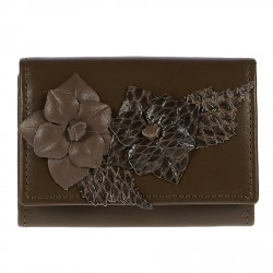 BROWN COIN PURSE WITH FLOWER