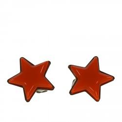 ORANGE EARRINGS WITH STARS  DESIGN