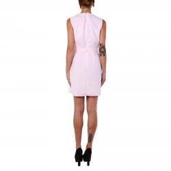 PINK DRESS WITH ROUND NECK