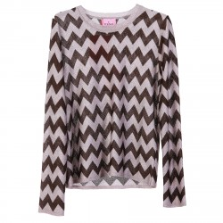 PINK AND BROWN LUREXED PULLOVER
