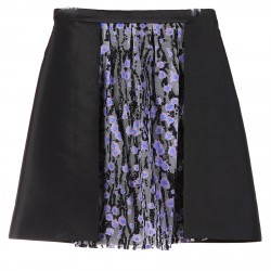 BLACK SKIRT WITH TULLE INSERT AND LUREX APPLICATION
