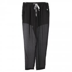 PANTALONE NERO CON COULISSE BIANCA
