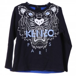 BLUE SWEATER WITH FRONTAL LOGO