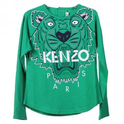 GREEN LIGHT SWEATER WITH PRINTED TIGER