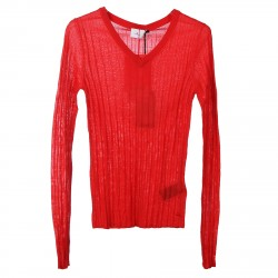 RED RIBBED PULLOVER