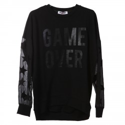 BLACK SWEATSHIRT WITH STARS AND SIGN CONTRAST INSERT