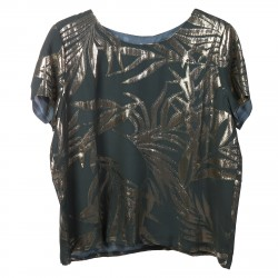 GREEN BLOUSE WITH GOLDEN DETAIL AT SHORT SLEEVES