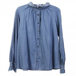 JEANS SHIRT WITH ROUCHE COLLAR