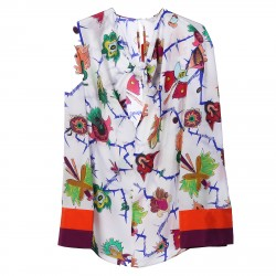 WHITE BLOUSE WITH FLOWERS FANTASY