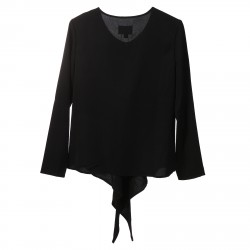 BLACK BLOUSE WITH FRONT OPENING